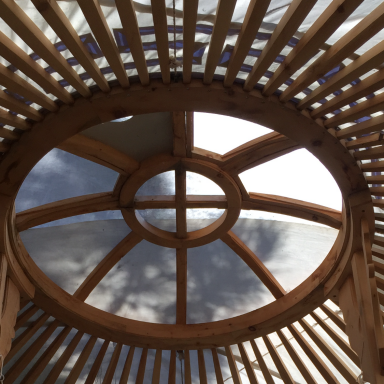 Characteristic circular roof of the yurt.
