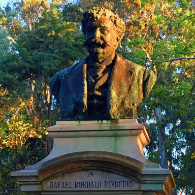 Statue of Rafael Bordalo Pinheiro  in the Dom Carlos I Park in Caldas da Rainha.