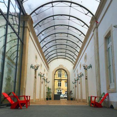 Arched gallery into Dom Carlos I Park in Caldas da Rainha.