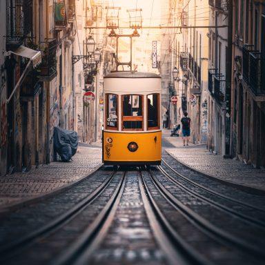 Tram in Lisbon city centre.