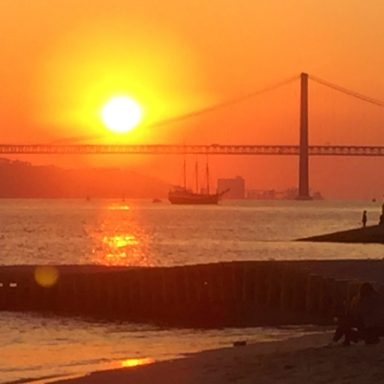 Sunset in Lisbon on the River Tagus.